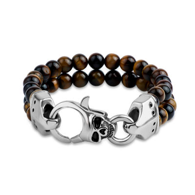 Genuine Brown Tiger's Eye Stainless Steel Beaded Bracelet
