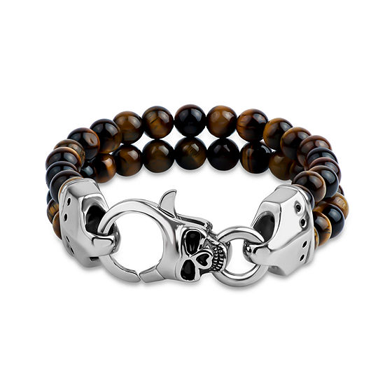 Genuine Brown Tiger's Eye Stainless Steel Beaded Bracelet