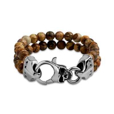 Genuine Brown Agate Stainless Steel Beaded Bracelet