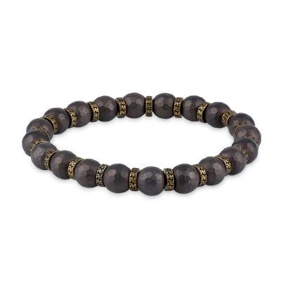 Brown Hematite Stainless Steel Beaded Bracelet
