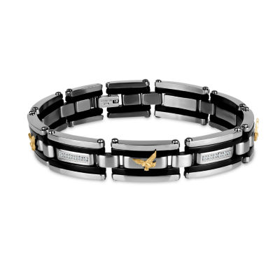 Mens 8.5 Inch White Cubic Zirconia Stainless Steel Link Bracelet