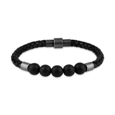 Black Hematite Stainless Steel Beaded Bracelet