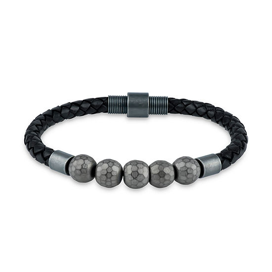 Genuine Gray Hematite Stainless Steel Beaded Bracelet