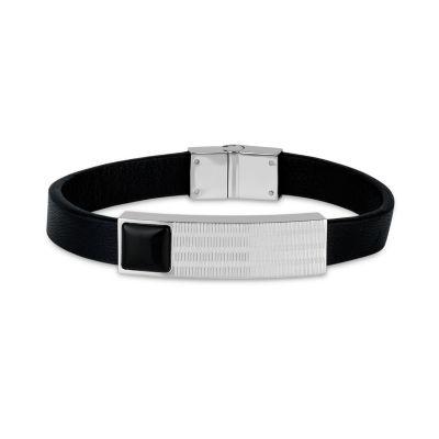 Mens Black Onyx Stainless Steel Id Bracelet