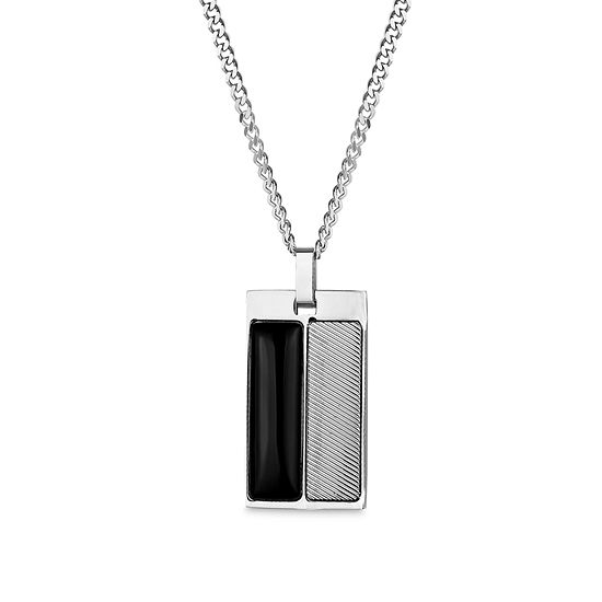 Mens Black Onyx Dog Tag Pendant Necklace