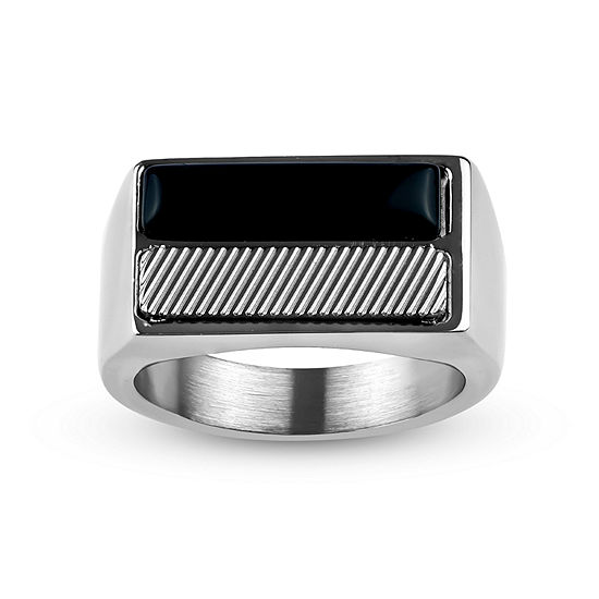 Mens 12 Mm Black Onyx Stainless Steel Band