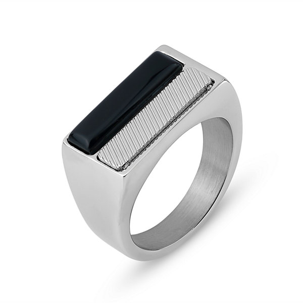 Mens Black Onyx Stainless Steel Band