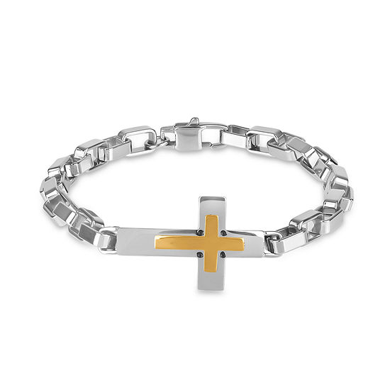 Stainless Steel 8.5 Inch Solid Box Cross Link Bracelet