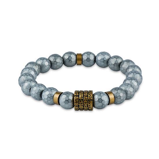 Genuine Gray Hematite Stainless Steel Beaded Bracelet