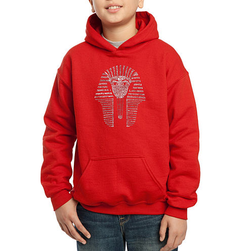Los Angeles Pop Art Names Of Different Egyptian Gods Hoodie-Big Kid Boys