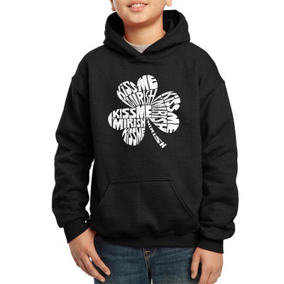 Los Angeles Pop Art The Words Kiss Me I'M Irish Hoodie-Big Kid Boys