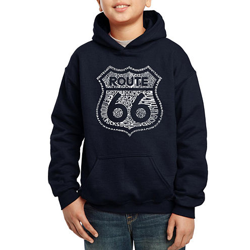 Los Angeles Pop Art Get Your Kicks On Route 66 Hoodie-Big Kid Boys
