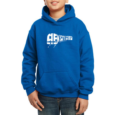 Los Angeles Pop Art Subway Art Using Words New York City Hoodie-Big Kid Boys