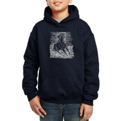 Los Angeles Pop Art Popular Horse Breeds Hoodie-Big Kid Boys