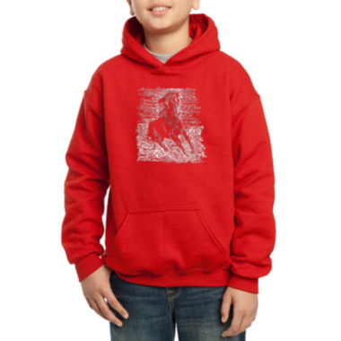 Los Angeles Pop Art Popular Horse Breeds Boys WordArt Hoodie