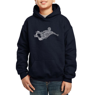 Los Angeles Pop Art Popular Skating Moves Hoodie-Big Kid Boys