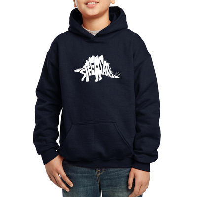 Los Angeles Pop Art Design Created Out The Word Stegosaurus Boys Hoodie-Big Kid
