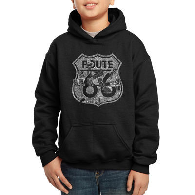 Los Angeles Pop Art Attractions And Stops Along Route 66 Boys Word Art Hoodie