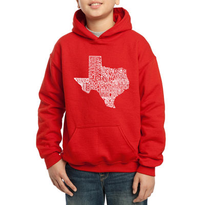 Los Angeles Pop Art Most Popular Cities In Texas Hoodie-Big Kid Boys