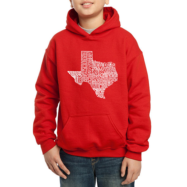 Los Angeles Pop Art Most Popular Cities In Texas Boys Word Art Hoodie
