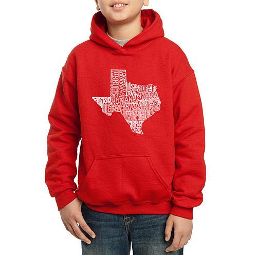 Los Angeles Pop Art Most Popular Cities In Texas Hoodie-Big Kid Boys