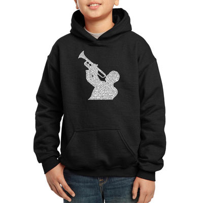 Los Angeles Pop Art Song Titles From Greatest Jazz Songs Hoodie-Big Kid Boys