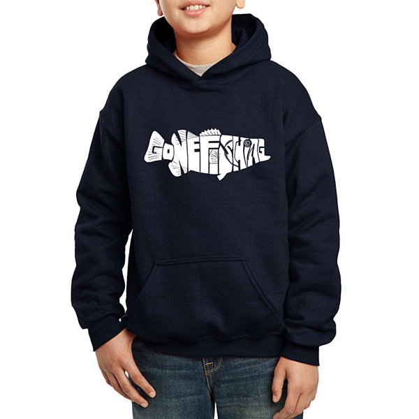 Los Angeles Pop Art Created Out Of The Words GoneFishing Boys Word Art Hoodie