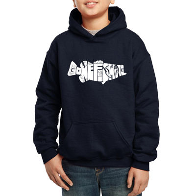 Los Angeles Pop Art Created Out Of The Words Gone Fishing Boys Hoodie-Big Kid