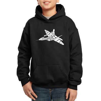 Los Angeles Pop Art Fighter Jet Using Words Need For Speed Hoodie-Big Kid Boys