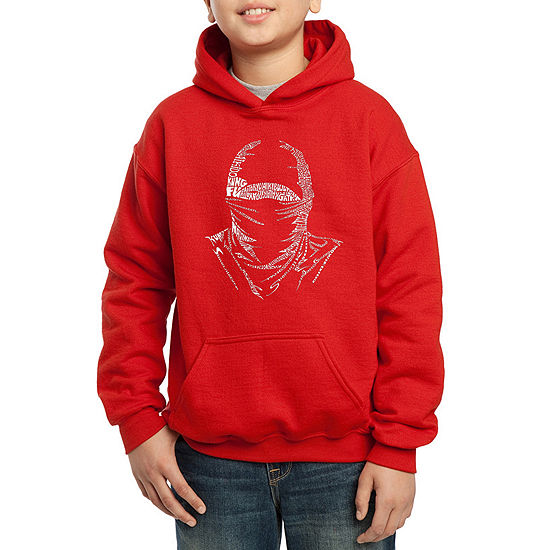 Los Angeles Pop Art Different Styles Of Martial Arts Boys Hoodie-Big Kid