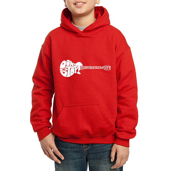 Los Angeles Pop Art Guitar From Words Dont Stop Believin Boys Hoodie Big Kid