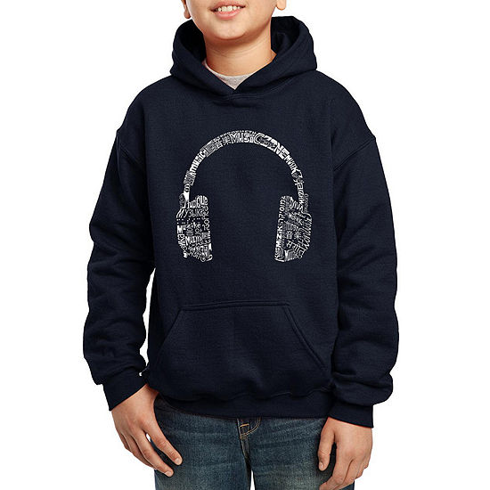 Los Angeles Pop Art The Word Music In Different Languages Boys Hoodie-Big Kid