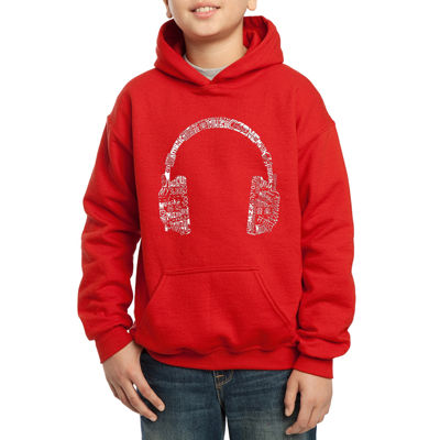 Los Angeles Pop Art The Word Music In Different Languages Hoodie-Big Kid Boys