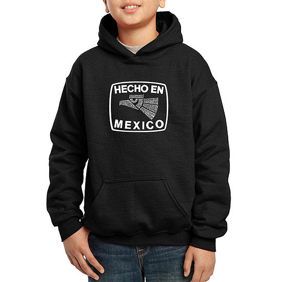 Los Angeles Pop Art All The States In Mexico Boys Hoodie-Big Kid