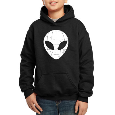 Los Angeles Pop Art Alien Face The Words I Come In Peace Hoodie-Big Kid Boys