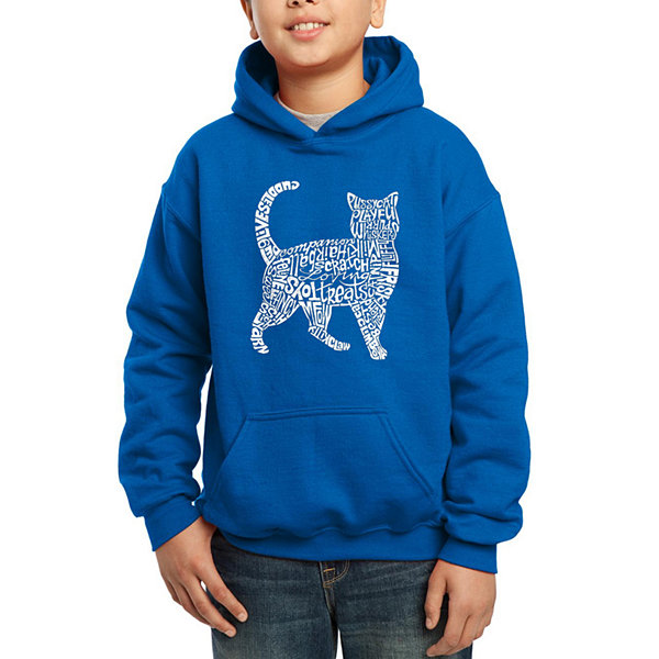 Los Angeles Pop Art Created Out Of Cat Themed Words Boys Word Art Hoodie