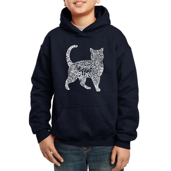 Los Angeles Pop Art Created Out Of Cat Themed Words Boys Hoodie-Big Kid