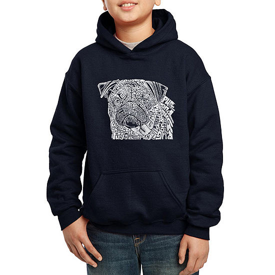 Los Angeles Pop Art The Word Pug Boys Hoodie-Big Kid