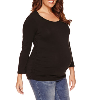 Long Sleeve Scoop Neck T-Shirt-Womens Plus Maternity