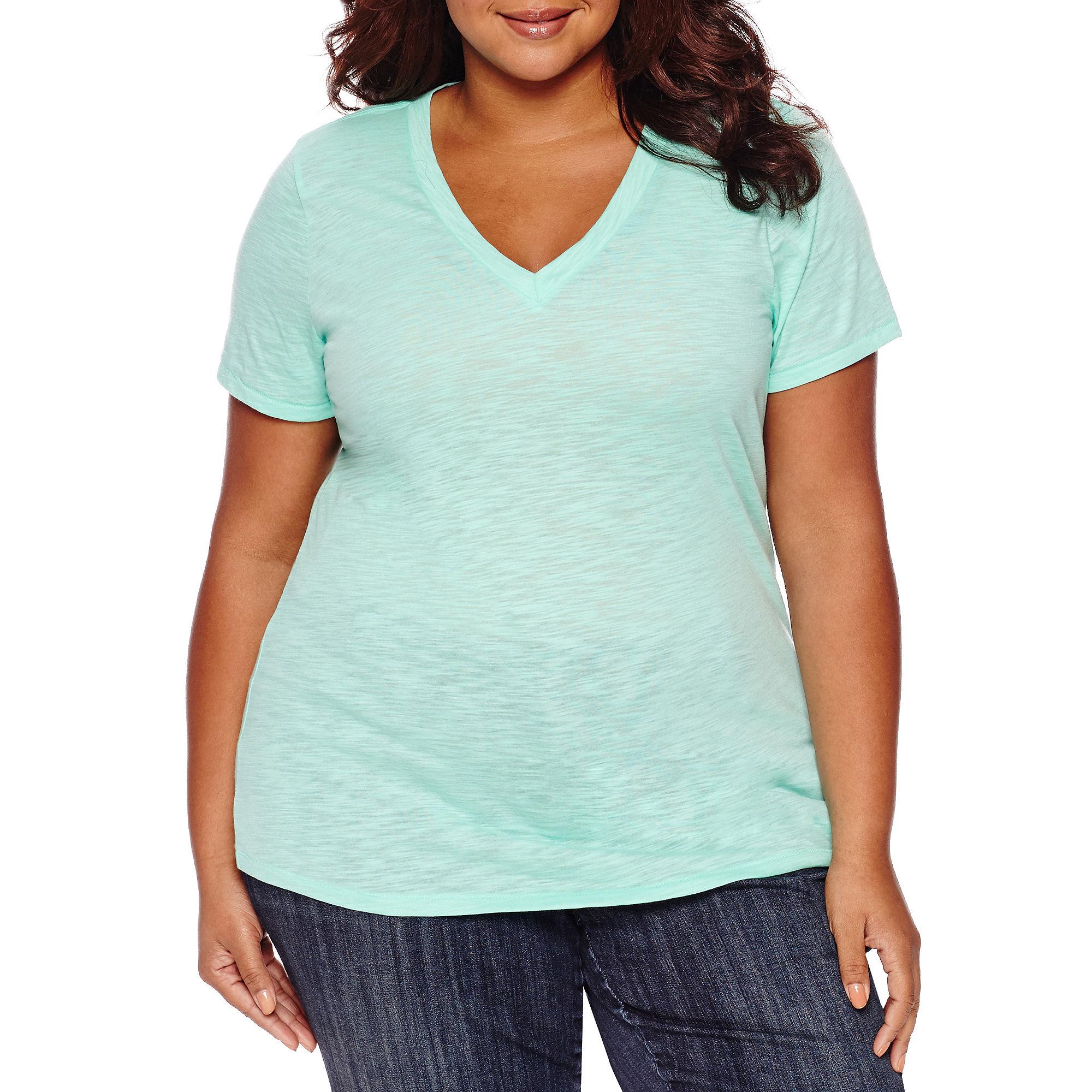 Arizona Short-Sleeve V-Neck T-Shirt - Juniors Plus plus size,  plus size fashion plus size appare