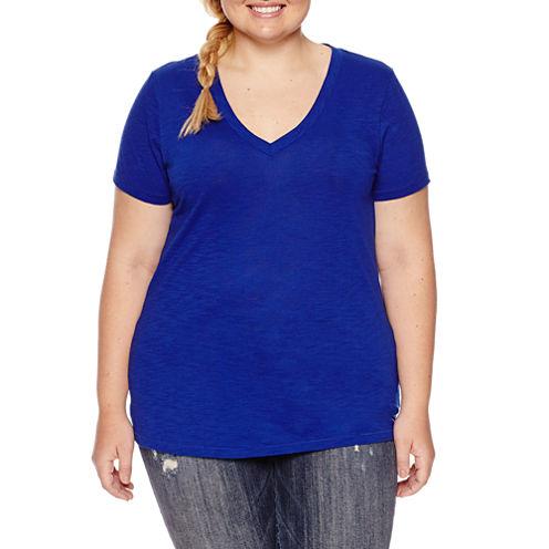 Arizona Short-Sleeve V-Neck T-Shirt - Juniors Plus