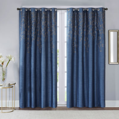 Madison Park Evelyn Embroidered Grommet-Top Curtain Panel