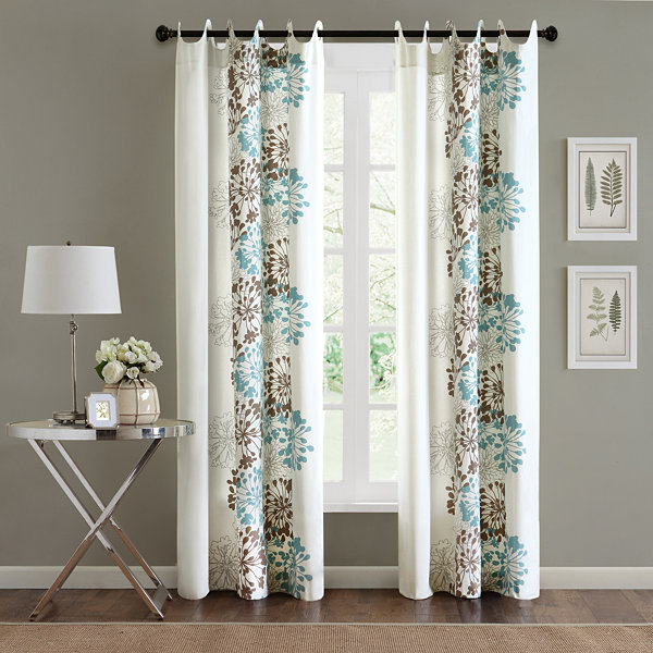 Adria Floral Grommet-Top Curtain Panel
