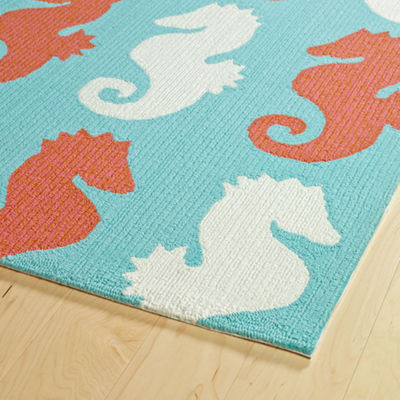 Kaleen Sea Isle Seahorse Hand Tufted Rectangular Indoor/Outdoor Rugs