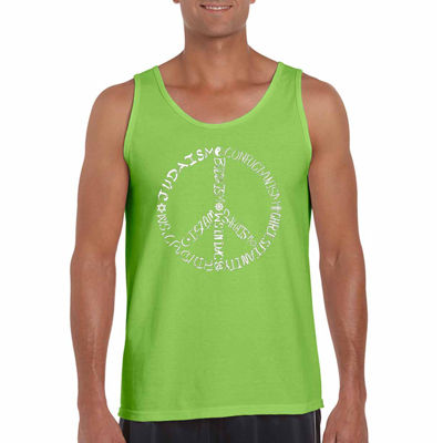 Los Angeles Pop Art Different Faiths Peace Sign Word Art Tank Top