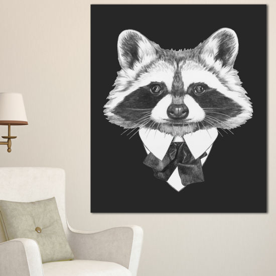 Designart Funny Raccoon In Suit And Tie Animal Canvas Art Print