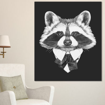 Design Art Funny Raccoon In Suit And Tie Animal Canvas Art Print - 3 Panels