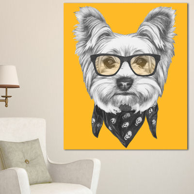Designart Funny Terrier Dog With Glasses Animal Canvas Art Print