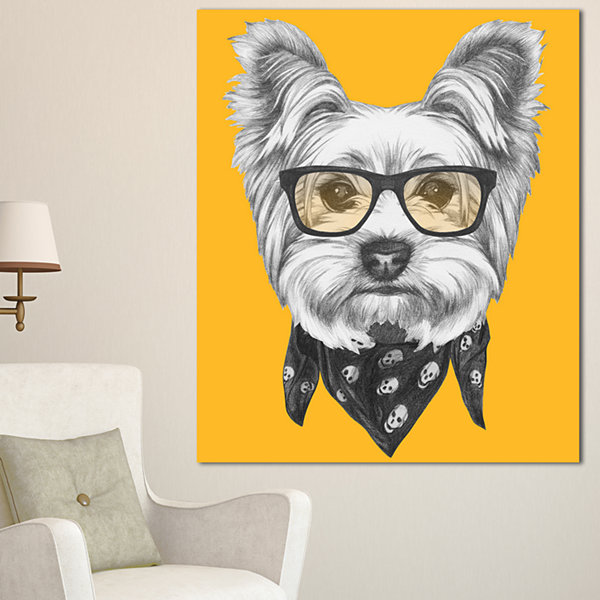 Designart Funny Terrier Dog With Glasses Animal Canvas Art Print - 3 Panels