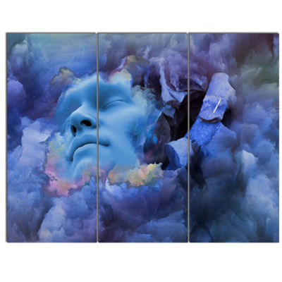 Designart Game Of Dream Woman Sleeping Abstract Canvas Wall Art Print - 3 Panels